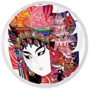 Hong Kong, Geisha, Vintage Travel Poster Round Beach Towel