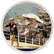 Hong Kong, Riviera Of The Orient Round Beach Towel