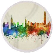 Hong Kong Skyline Chhk05 Round Beach Towel