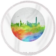 Hong Kong Skyline Chhk20 Round Beach Towel