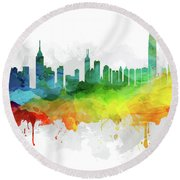 Hong Kong Skyline Mmr-chhk05 Round Beach Towel
