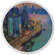 Hong Kong Skyline Painting Round Beach Towel