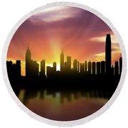 Hong Kong Skyline Sunset Chhk22 Round Beach Towel by Aged Pixel