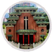 Round Beach Towel featuring the photograph Hong Kong Temple by Randall Weidner