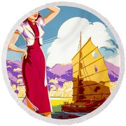 Hong Kong Vintage Travel Poster Restored Round Beach Towel