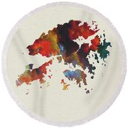 Hong Kong Watercolor Map Round Beach Towel