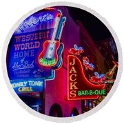 Honky Tonk Broadway Round Beach Towel by Stephen Stookey