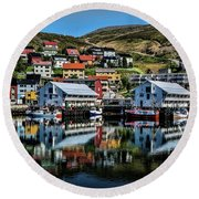 Honningsvag, Norway Round Beach Towel by Shirley Mangini