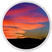 Honolulu Sunset Round Beach Towel