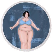 Round Beach Towel featuring the digital art Honor My Curves by Bria Elyce