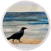 Hooded Crow At The Black Sea By Dora Hathazi Mendes Round Beach Towel