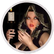 Hooded Girl Round Beach Towel