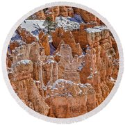 Hoodoos After A Snowfall Round Beach Towel