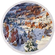 Round Beach Towel featuring the photograph Hoodoos And Fir Tree In Winter Bryce Canyon Np Utah by Dave Welling