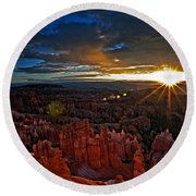 Hoodoos At Sunrise Bryce Canyon National Park Round Beach Towel by Sam Antonio
