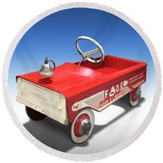 Round Beach Towel featuring the photograph Hook And Ladder Peddle Car by Mike McGlothlen