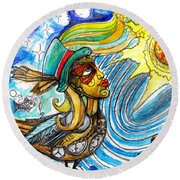 Round Beach Towel featuring the painting Hooked By The Worm by Genevieve Esson