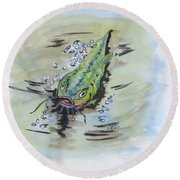 Hooked Catfish Round Beach Towel