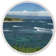 Ho'okipa Beach View From Ho'okipa Beach Park Hana Maui Round Beach Towel by Peter Dang