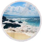 Round Beach Towel featuring the photograph Hookipa Beach Maui Hawaii by Sharon Mau