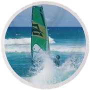 Round Beach Towel featuring the photograph Hookipa Windsurfing North Shore Maui Hawaii by Sharon Mau