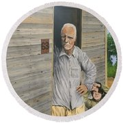 Round Beach Towel featuring the painting Hooper Ranch #63 by Kevin Daly