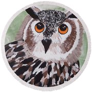 Hoot Round Beach Towel by Judi Goodwin