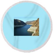 Round Beach Towel featuring the photograph Hoover Dam In May by Emmy Marie Vickers