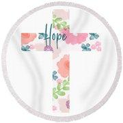 Hope Floral Cross- Art By Linda Woods Round Beach Towel