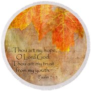 Round Beach Towel featuring the photograph Hope by Larry Bishop