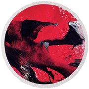Hope - Red Black And White Abstract Art Painting Round Beach Towel