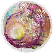 Round Beach Towel featuring the painting Hope Rising by TM Gand