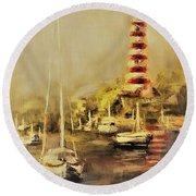 Hope Town Harbor Vintage Round Beach Towel