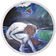 Round Beach Towel featuring the painting Hope  by Winsome Gunning