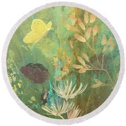 Round Beach Towel featuring the painting Hopeful Golden Wings by Robin Maria Pedrero