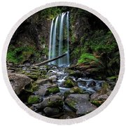 Hopetoun Falls Round Beach Towel by Mark Lucey