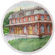 Round Beach Towel featuring the painting Hopewell Nj Train Station by Lucia Grilletto