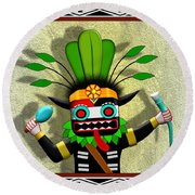 Round Beach Towel featuring the digital art Hopi Harvest Kachina by John Wills