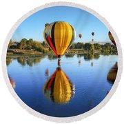 Hor Air Balloons 2 Round Beach Towel