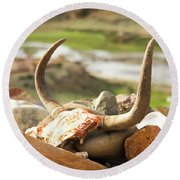 Horn And Valley Tibet Yantra.lv Round Beach Towel