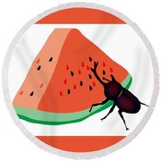 Horn Beetle Is Eating A Piece Of Red Watermelon Round Beach Towel