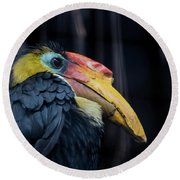 Hornbilled Bird Round Beach Towel