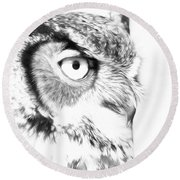 Horned Owl Pen And Ink Round Beach Towel by Steve McKinzie