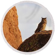 Round Beach Towel featuring the photograph Horned Owl Perched At Sunset by Natalie Ortiz