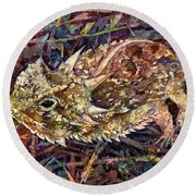Horned Toad Round Beach Towel