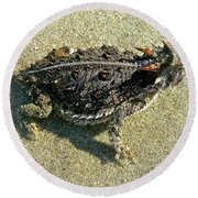 Horny Toad Lizard Round Beach Towel