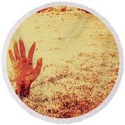 Horror Hand Of A Zombie Awakening Round Beach Towel