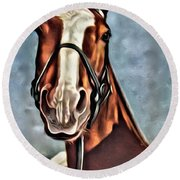 #horse 2 Round Beach Towel