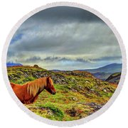 Round Beach Towel featuring the photograph Horse And Mountains by Scott Mahon