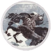 Horse And Red Sun Round Beach Towel